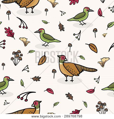 Cute Woodpecker And Pheasant Cartoon Seamless Vector Pattern Background.