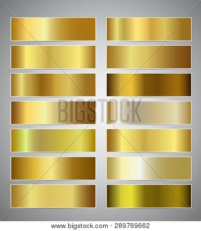 Set Of Gold Gradient Banners Templates Or Website Headers. Vector Exclusive Mesh Design