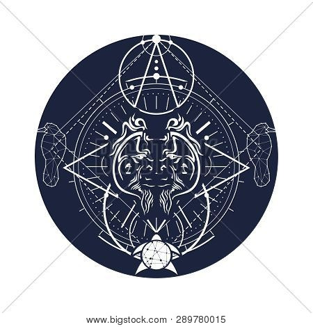 Mystical Geometry Symbol. Linear Alchemy, Occult, Philosophical Sign. Low Poly Raven, Turtle And Ora