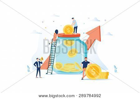 Money Savings Concept. Business People Characters Investing Money On Bank Account. Moneybox, Safe De