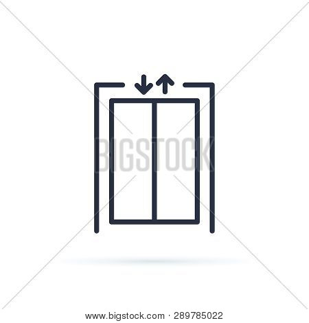 Lift Vector Icon. Blank Closed Elevator In Office Floor Interior, Front View. Empty Lift. Concept Of