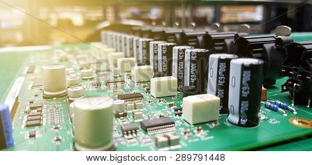 Circuit Board With Electronic Components, Piece Of Electronic Equipment Such As Microchips, Capacito