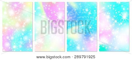 Unicorn Rainbow Background. Holographic Sky In Pastel Color. Bright Hologram Mermaid Pattern In Prin