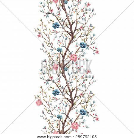Beautiful Seamless Pattern With Watercolor Cute Flowers And Birds
