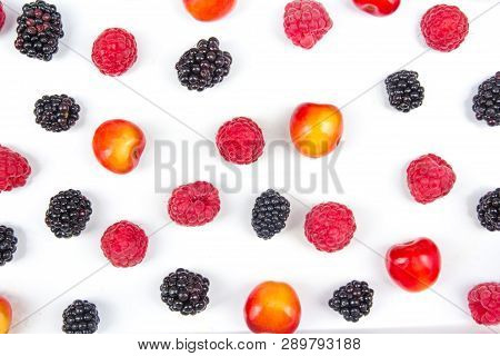 Various Summer Fresh Berries In A Bowl On Isolated White . Berries. Antioxidants, Detox Diet, Organi