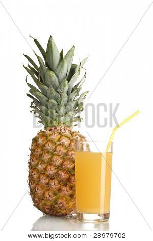 ?ineapple juice and pineapple isolated on white