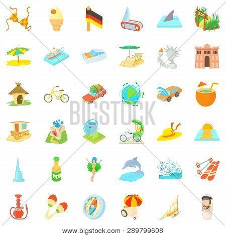 Good Journey Icons Set. Cartoon Style Of 36 Good Journey Icons For Web Isolated On White Background
