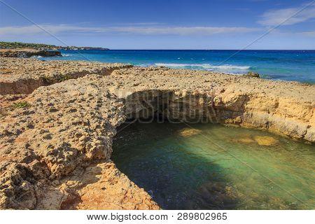 Salento Coast: Seascape With White Rocky Cliffs, Caves, Sea Bay. Conca Specchiulla Is Characterized