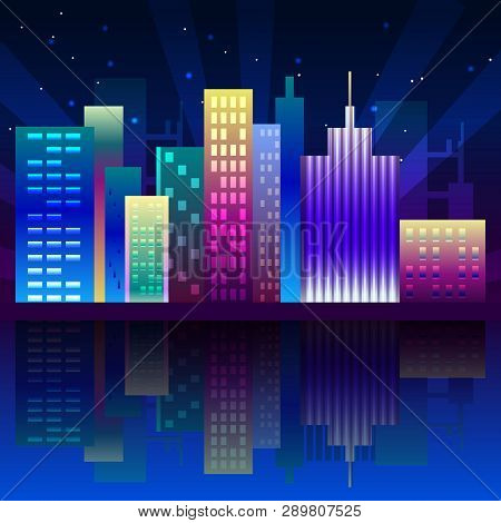 Night Neon City In Synthwave Style. Night City Illuminated With Neon Glowing Lights. New York Urban