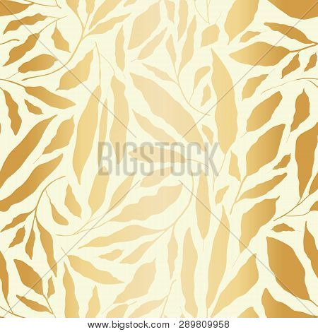 Variety Of Gold Foil Hand Drawn Leaves Scattered On Light Background. Elegant Seamless Vector Repeat