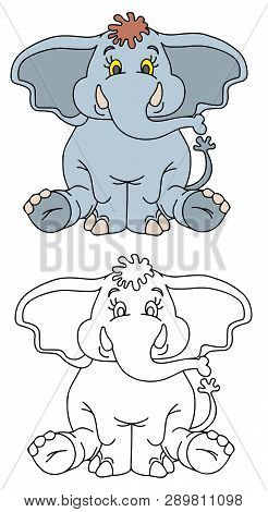 Coloring Pages For Childrens With Funny Animals, Funny Elephant