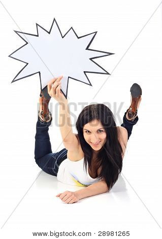 Young Woman Holds Blank Card