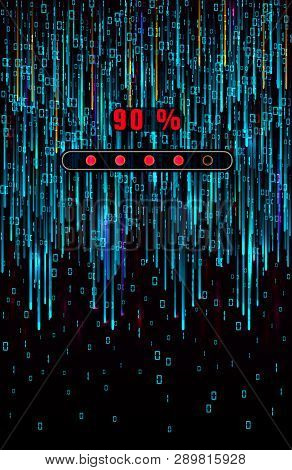 Abstract Matrix Background Design With Binary Computer Code And Progress Loading Bar. Digits On Scre