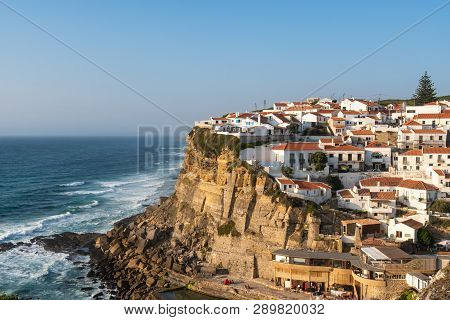 Landscape Of Colares In The Coast Of Portugal, A Little Village Built In A Cliff In Front Of The Sea