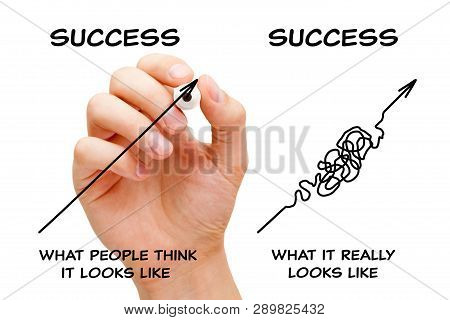 Hand Drawing Concept About The Difference Between What People Think The Path To Success Looks Like A