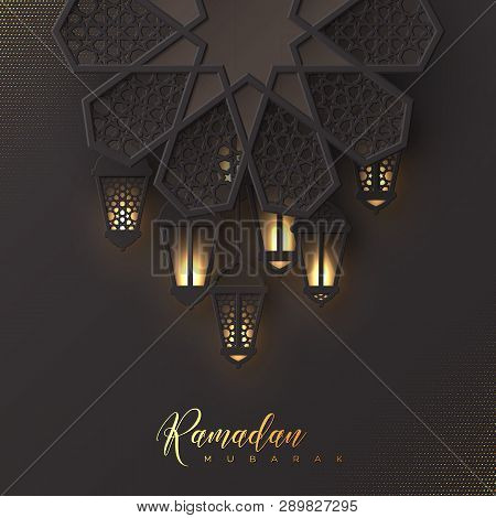 Ramadan Mubarak Holiday Design. 3d Paper Cut Flower Decorated Traditional Islamic Pattern With Shiny