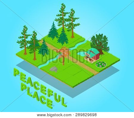 Peaceful Place Concept Banner. Isometric Banner Of Peaceful Place Concept For Web, Giftcard And Post