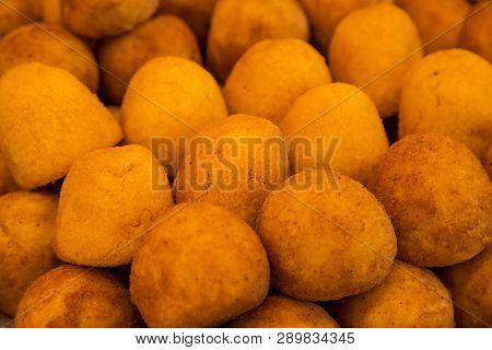 Soft Focus Of Fresh Potato Croquettes Background.