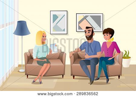 Young Happy Couple Accepting Terms Of Contract With Realtor Or Wedding Planner Cartoon Vector Illust