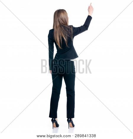 Business Woman Showing Pointing On White Background Isolation, Back View