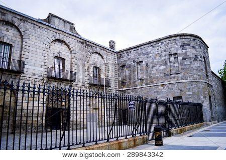 Dublin, Ireland, July 2016. Old Entrance and Stone Wall of Kilmainham, Gaol, the Famous Historical Prison in Dublin, Ireland.