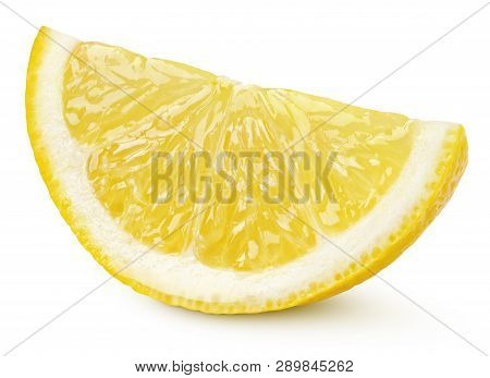 Ripe Slice Of Yellow Lemon Citrus Fruit Isolated On White Background With Clipping Path. Full Depth