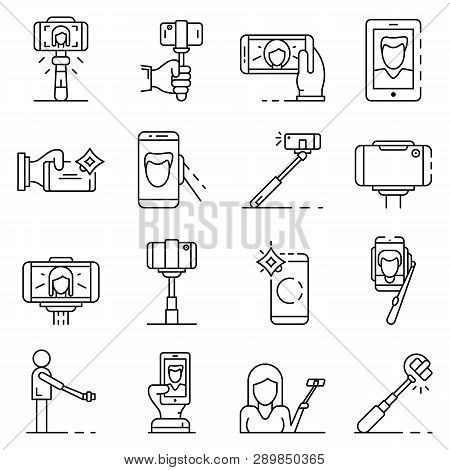 Selfie Icon Set. Outline Set Of Selfie Icons For Web Design Isolated On White Background