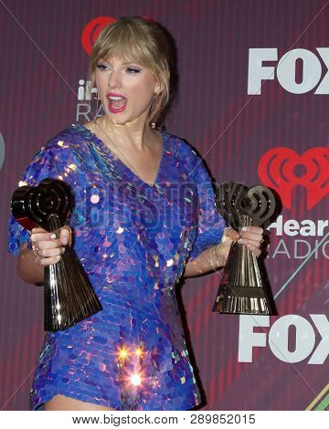 LOS ANGELES - MAR 14:  Taylor Swift at the iHeart Radio Music Awards - Press Room at the Microsoft Theater on March 14, 2019 in Los Angeles, CA