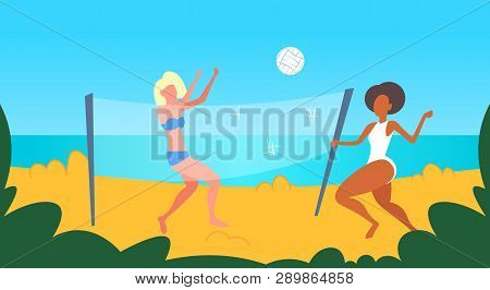 Mix Race Women Couple Playing Volleyball Girls With Volley Ball Having Fun On Sea Beach Active Lifes