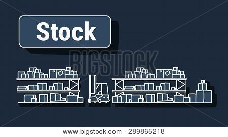 Forklift In Big Warehouse Interior Empty No People Storage Logistic Delivery Service Stock Concept S