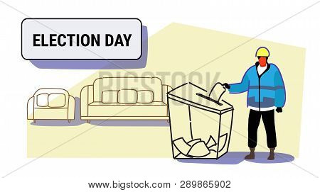 election day concept construction worker in uniform man voter putting paper ballot list in box during voting full length sketch doodle horizontal poster
