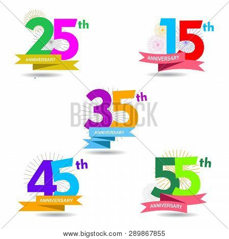 Set Of Anniversary Numbers Design 25 15 Vector Image
