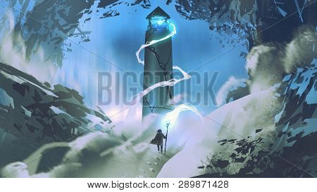 The Man With Wizard Staff Lighting The Lighthouse With His Magic, Digital Art Style, Illustration Pa