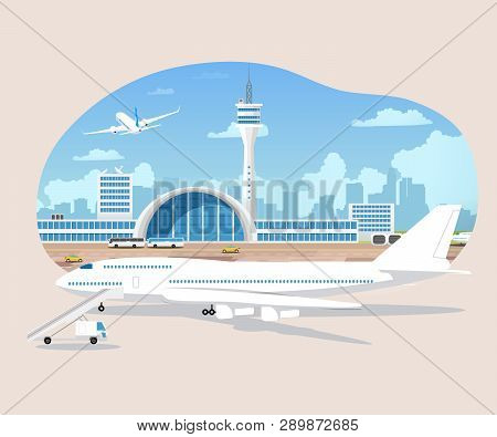 Passenger Airplane Waiting To Flight On Runaway Cartoon Vector. Airport Terminal With Dispatcher Tow