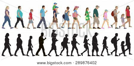 Set Of Walking People (crowd) And Silhouettes, Isolated. Vector Illustration.