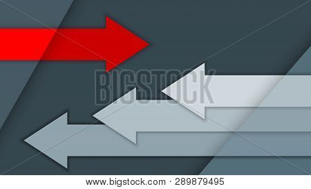 Vector Illustration With Multi-level Surfaces, Arrows On A Gray Background, Motion Concept
