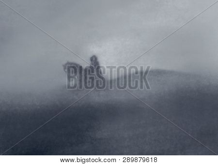 Abstraction Rider In The Mist On The Hillside