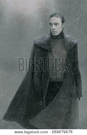 Stylized Fantasy Portrait Of A Man In A Fur Coat