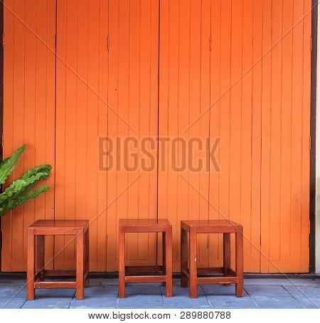 Vintage Retro Wooden Door Store Front. Home Interior Architectural Design, Plain Tropical Dark Brown