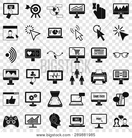 Computer Arrow Icons Set. Simple Style Of 36 Computer Arrow Vector Icons For Web For Any Design