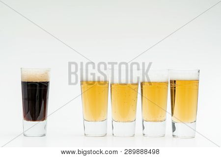 Five Glasses Of Beer Symbolize The Diversity