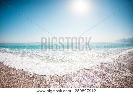 Beautiful Sea Waves. Ocean Coast. Rest On The Sandy Coast. Sea Foam.