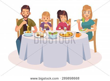 Family Eating Table. Happy People Eat Food Dinner Parents Kids Father Mother Daughter Son Drink Lunc