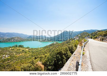 Bacina Lakes, Dalmatia, Croatia, Europe - Country Road Alongside The Beautiful Bacina Lakes