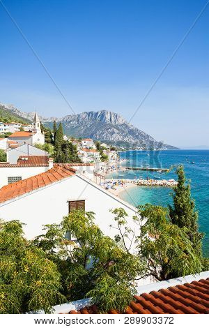 Brist, Dalmatia, Croatia, Europe - Overview Across The Beautiful Beach Of Brist
