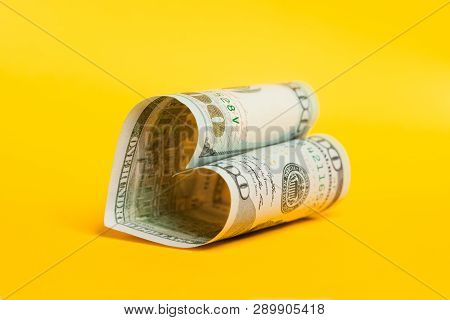 100 Bill. Heart Of Dollar Note On Yellow. Win-win, Gift, Deposit Interest And Commercial Money Inves