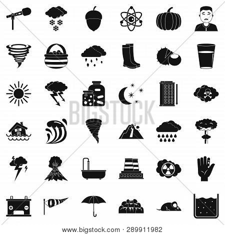 Tornado Icons Set. Simple Style Of 36 Tornado Icons For Web Isolated On White Background