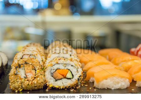 A Sushi Japanese Food On Black Board