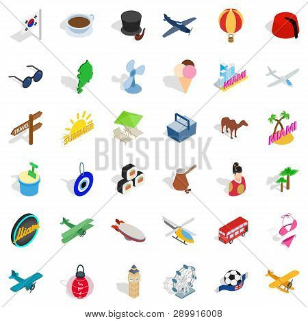 Touring Icons Set. Isometric Style Of 36 Touring Icons For Web Isolated On White Background