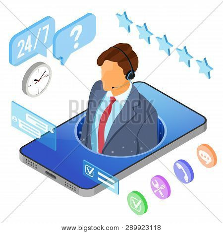 Online Isometric Customer Support Concept. Mobile Call Center With Man Consultant, Headset, Chat Ico